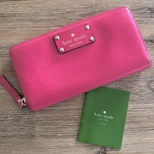 Kate spade pink leather continental wallet